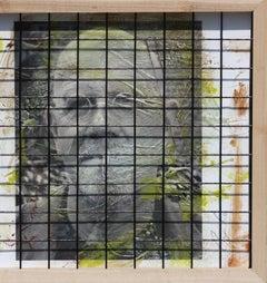 Triple Chuck Close, 15x41, Oil, encaustic, steel grid and archival pigments