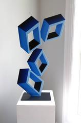 """4 Blue Boxes"" illusion sculpture, painted metal, 28x17"""