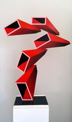 """""""5 Red Elongated Boxes""""  Illusion Sculpture, painted metal 2016"""