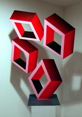 """""""4 Large Red Boxes"""" Geometric Illusion Sculpture, 46x32 painted metal"""
