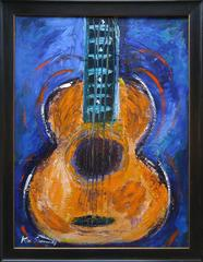 """Guitar in Orange"" acrylic on canvas, 40x30"""