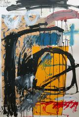 Untitled Abstract with Yellow and Black 47x31