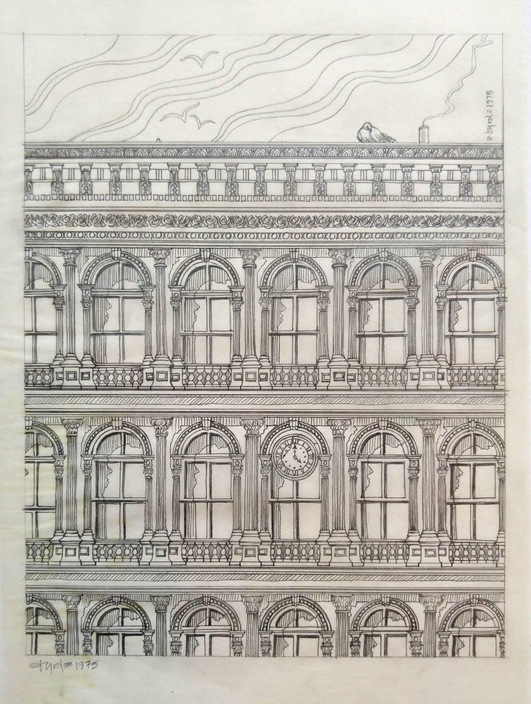 Haughwout building at Broadway and Broome, pencil on vellum - Art by David Edward Byrd