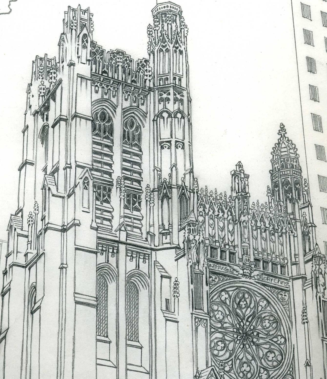 St Thomas Church 5th at 53rd, Original drawing from 1975 Manhattan Coloring Book