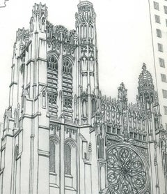 St Thomas Church 5th at 53rd, from the 1975 Manhattan Coloring Book, on Vellum