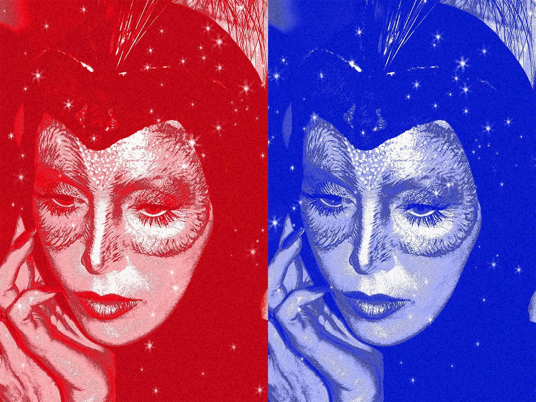 Double Night Bird Alison Steele Red Blue with Diamond Dust, 36x48