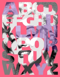 """Alphabet Marilyn"" Lavender/Pink, 47x38"", framed"