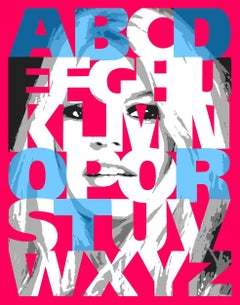 """Alphabet Bardot"" Blue/Hot Pink, 47x38,"
