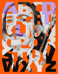 """Alphabet Dali"" Lavender/Orange, 47x38"","