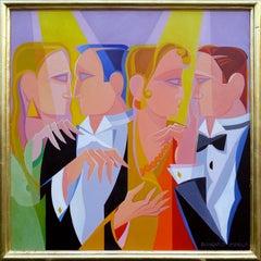 """Gossip,  40x40""""  Oil on Panel,"""