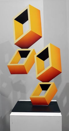 4 Yellow Boxes illusion Sculpture, Metal and Enamel