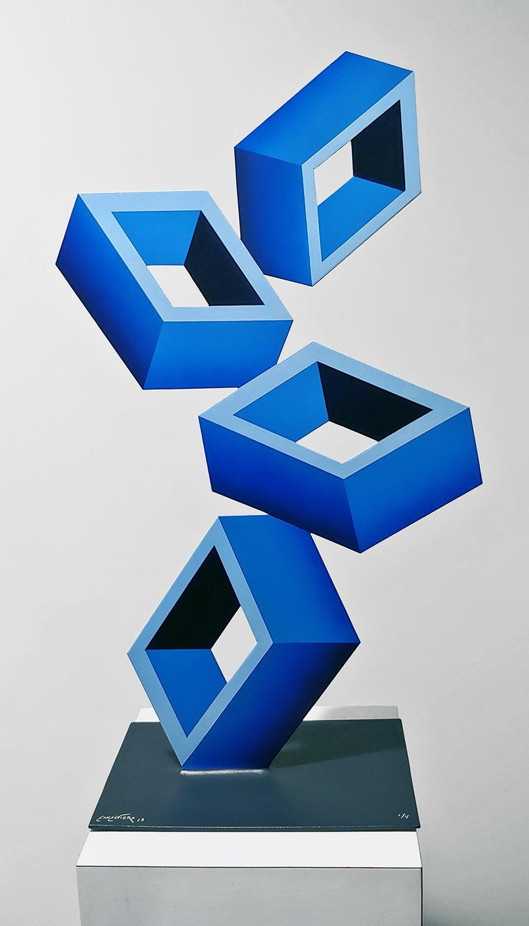 Sanseviero Abstract Sculpture - 4 Blue Boxes illusion sculpture, 28x16, Metal and Enamel,