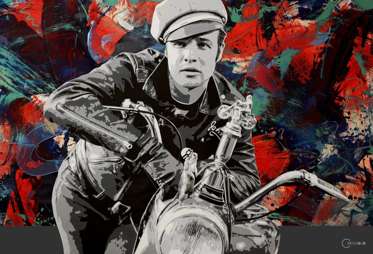 """The Wild Ones, Brando and G"", 54x80"" oil and acrylic on canvas,"