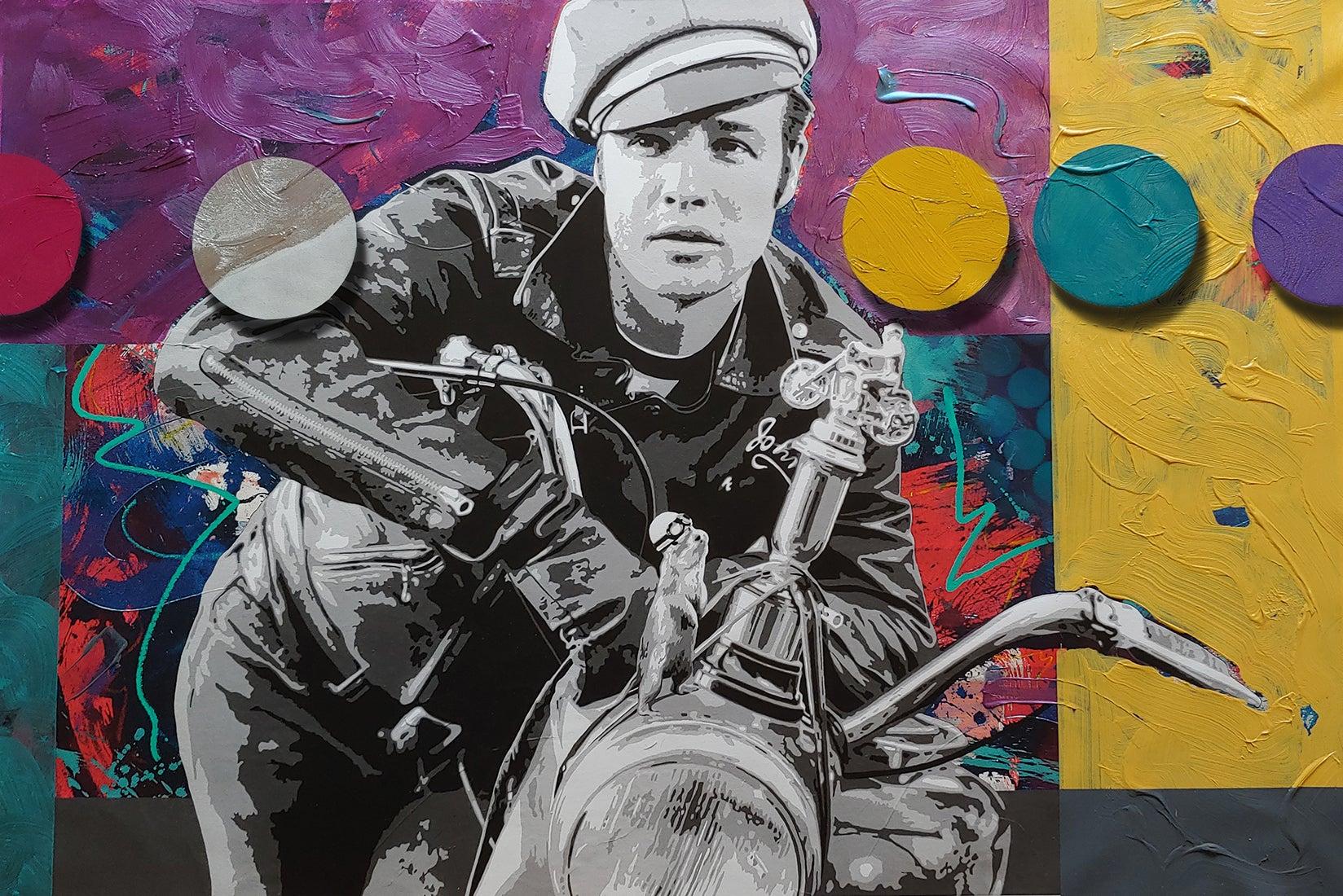 Brando and G, Pop art oil and acrylic portrait with spray enamel circles 36x54
