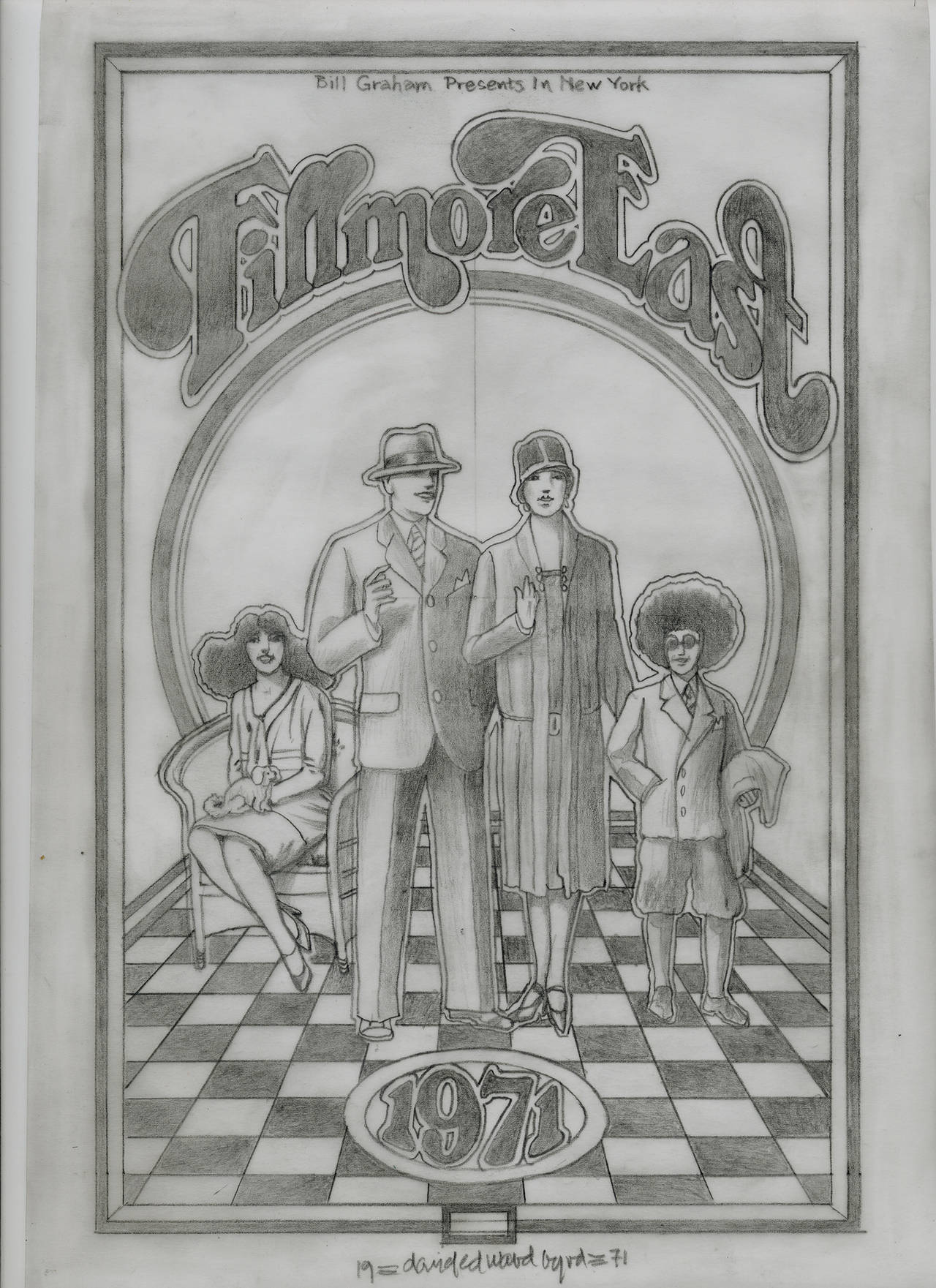 """""""The Original Fillmore East pencil drawing for the 1971 Program """""""