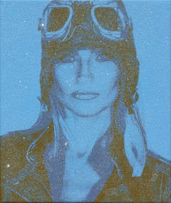 "The Aviatrix with Diamond Dust on canvas Blue, 18x15"" one of a kind"