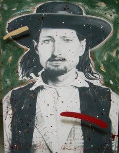 """""""Wild Bill Hickok 1853"""", Wild West Deadwood, large 53x40"""" oil on canvas"""