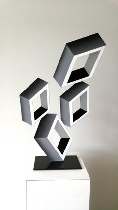 """4 White Boxes"", illusion sculpture, painted metal"