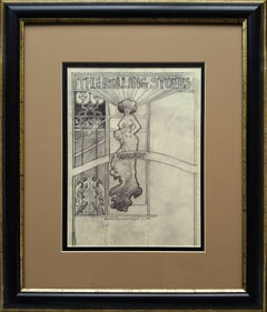Rolling Stones 1969 World Tour,  original Rock and Roll drawing