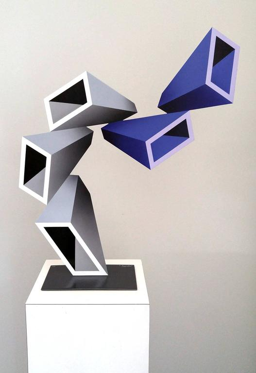 """""""5 two-toned elongated boxes"""" illusion sculpture, painted metal 2016 2"""