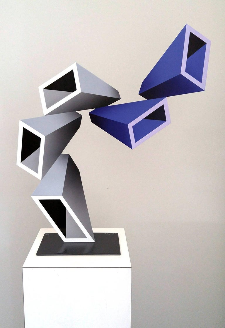 """Sanseviero Abstract Sculpture - """"5 two-toned elongated boxes"""" illusion sculpture, painted metal 2016"""