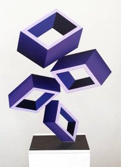 """""""4 Violet Boxes"""" large Illusion Sculpture, Painted Metal"""