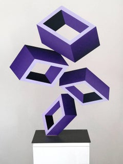 """4 Violet Boxes"" large Illusion Sculpture, Painted Metal"
