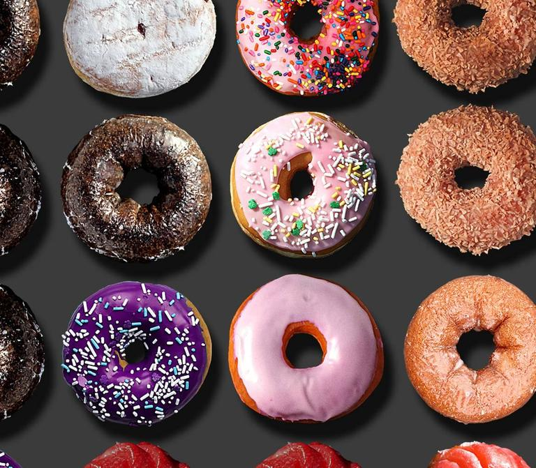 You have read about the extraordinary donut portraits by Candice CMC on social media world-wide and we are excited and proud to represent her work.   This one of a kind photo arrangement on 100% rag paper by Candice CMC measures 39x31