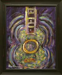 Space Guitar, 33x27 framed, acrylic on canvas