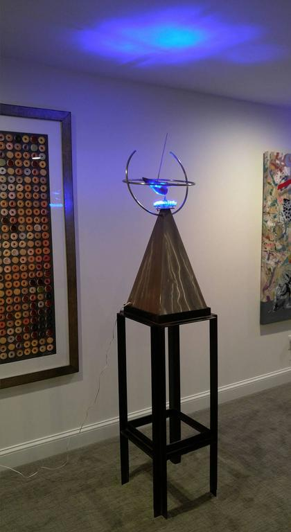 Symmetrical Joy 77x17x17, Stainless Steel and polished bronze with LED lighting, - Sculpture by Robert Roesch