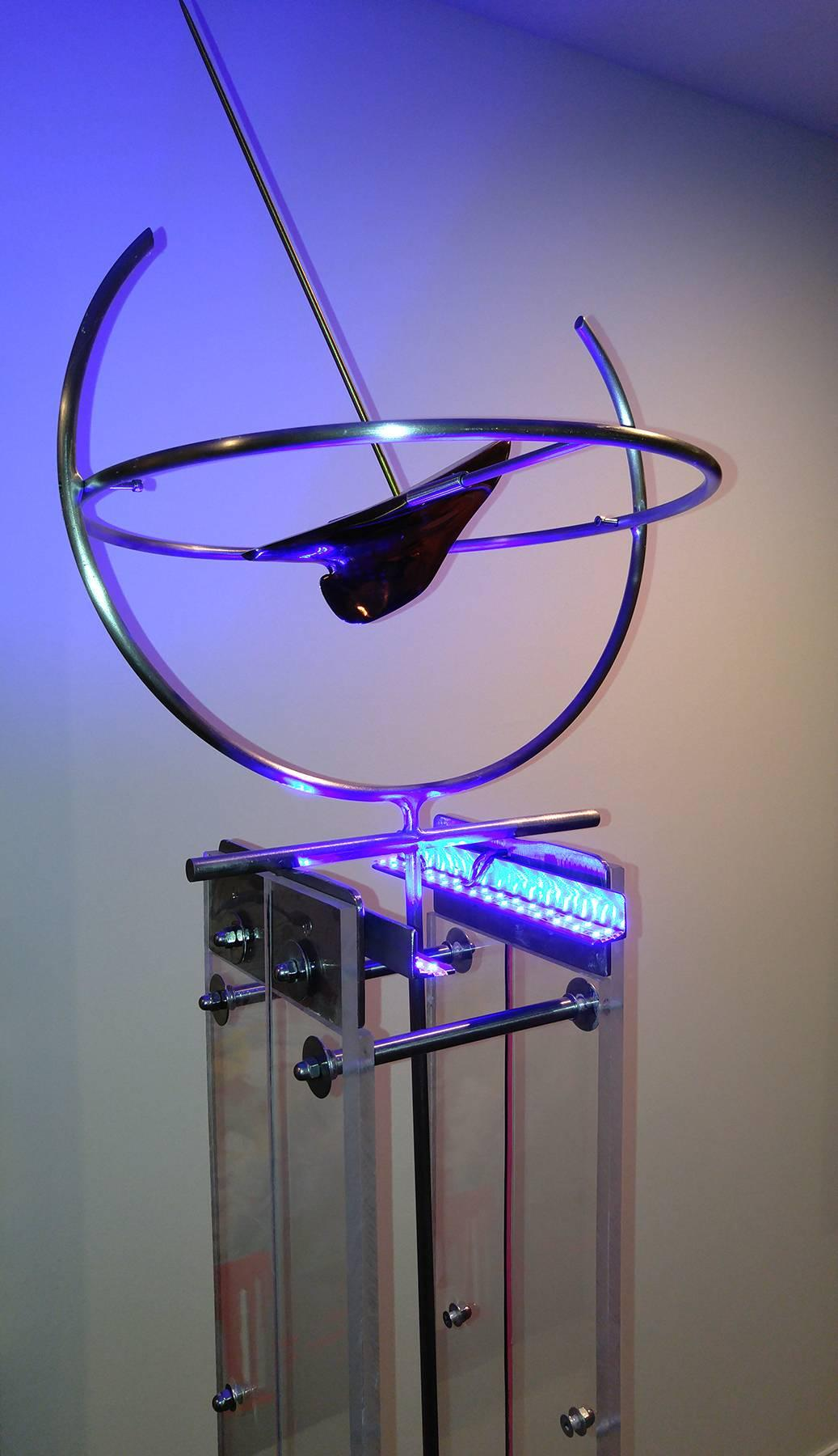 Sometimes On Time  77x16x16,  Stainless Steele, Bronze, LED lighting