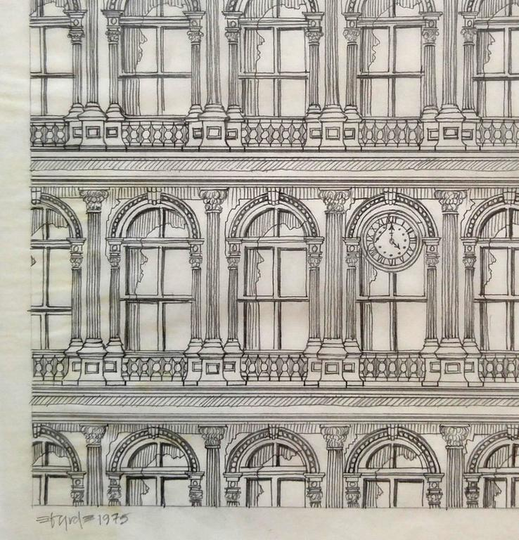 Haughwout building at Broadway and Broome, pencil on vellum - Realist Art by David Edward Byrd
