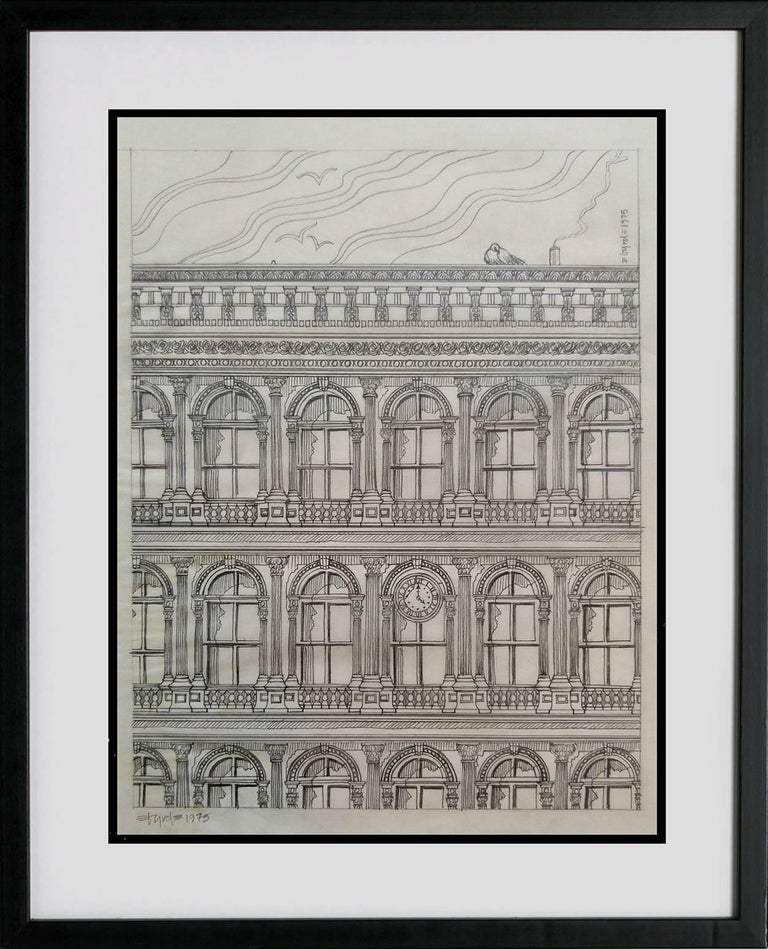 David Edward Byrd  Landscape Art - Haughwout building at Broadway and Broome, pencil on vellum