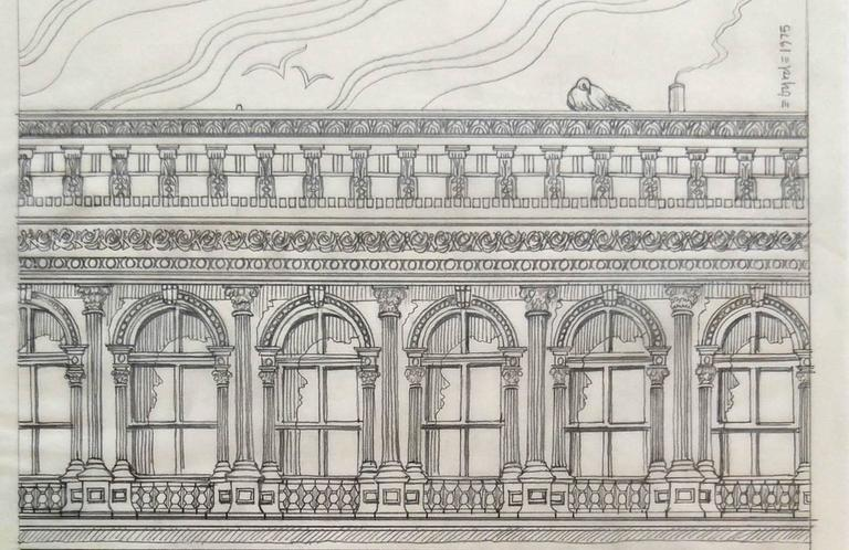 Haughwout building at Broadway and Broome, pencil on vellum - Gray Landscape Art by David Edward Byrd