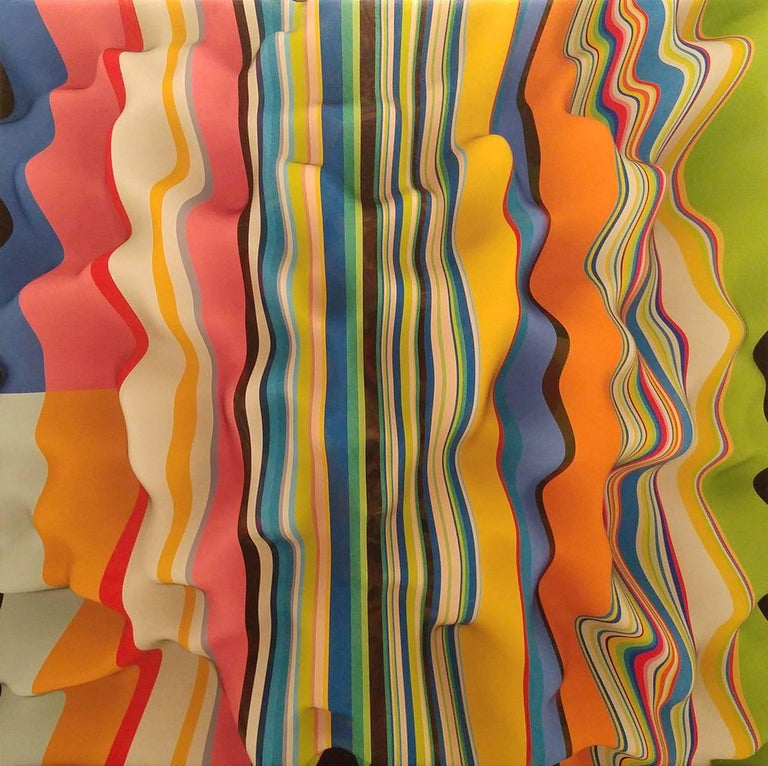 This work is a collaboration between two artists, Joe Doyle and Diane Rosenblum.  The surface of the canvas is completely flat but a remarkable three dimensional illusion is created.  Joe Doyle established himself as a painter during the movement