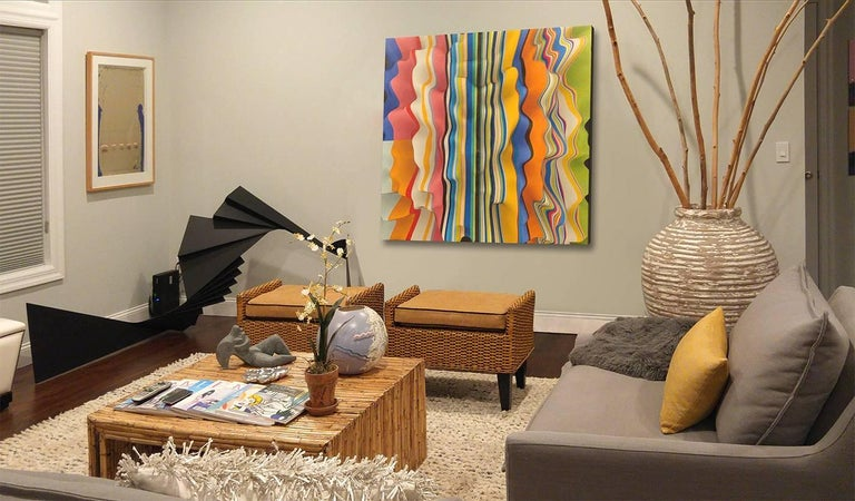 Noland Yellow and Black, 54x54 on canvas For Sale 1