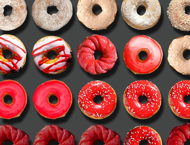 Donut Kiss, 41x55, One of a Kind Photographic Arrangement,  - Black Portrait Photograph by Candice CMC