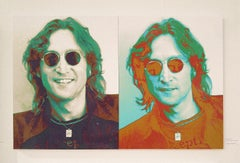 John Lennon at Capital Records Diamond Dust Diptych on canvas , 38x60