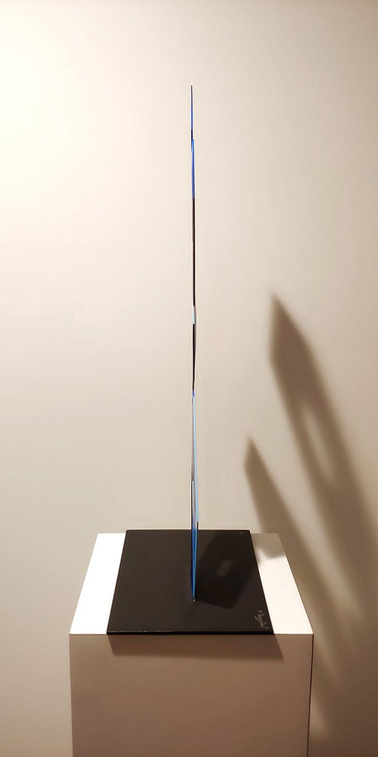 4 Blue Boxes illusion sculpture, 28x16, Metal and Enamel, - Gray Abstract Sculpture by Sanseviero