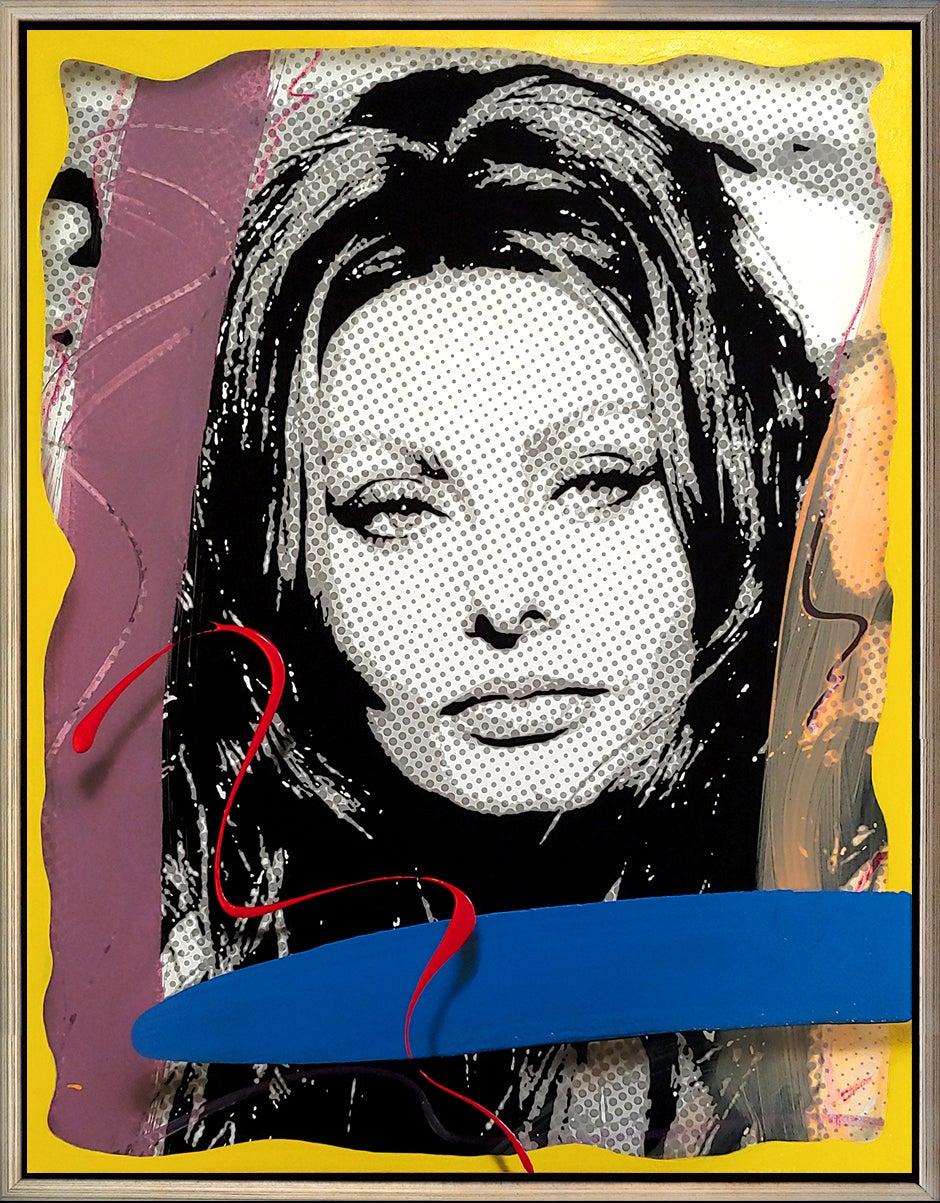 """Sophia Portrait illusion 1"" Acrylic, oil, spray paint, pigment ink 36x28 canvas"
