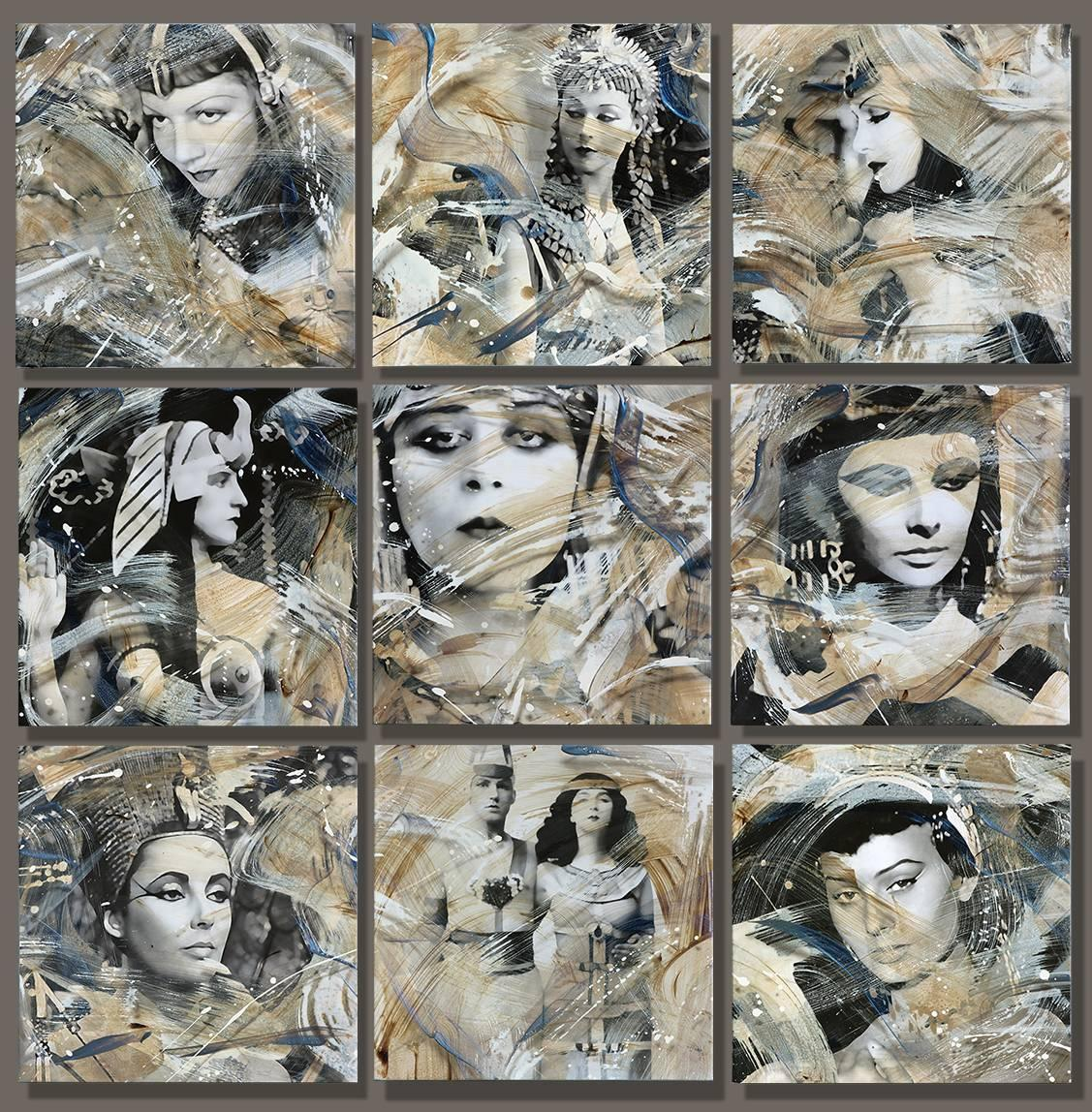"""""""Cleopatra 9"""",........... 50x50"""" total size....9 separate canvases each 16x16"""""""