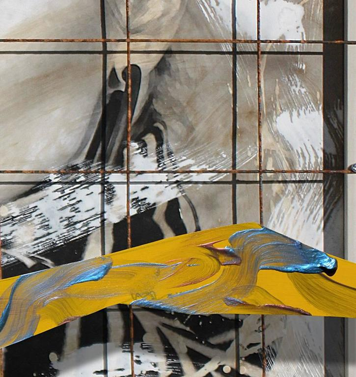 """Endangered Species, 56x45x5"""" Mixed Media, steel grid, acrylic, canvas and wood  3"""