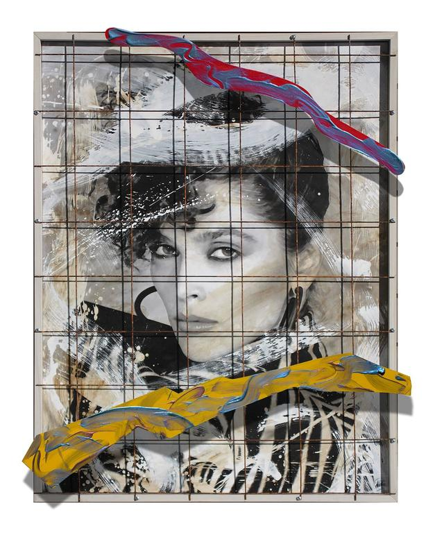 "Ceravolo Portrait Painting - Endangered Species, 56x45x5"" Mixed Media, steel grid, acrylic, canvas and wood"