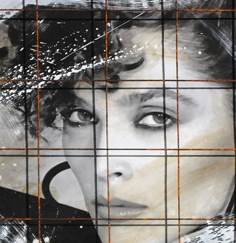 """Endangered Species, 56x45x5"""" Mixed Media, steel grid, acrylic, canvas and wood  2"""