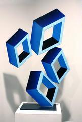 """4 Blue Boxes"", illusion Sculpture, painted metal"