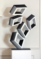 """""""5 White Boxes"""", Painted Metal, illusion sculpture"""