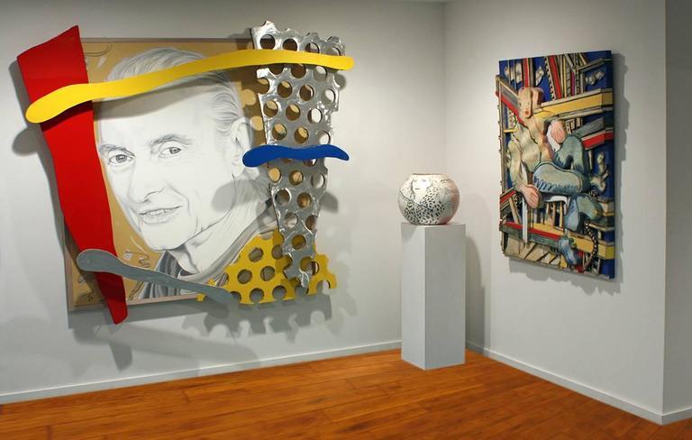 """The Last Portrait of Roy Lichtenstein by Ceravolo"", 74x82x10 Oil & Aluminum For Sale 5"