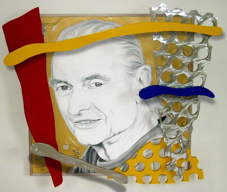 "This large 74""x82""x10"" oil on canvas with aluminum panels is titled ""The last portrait of Roy Lichtenstein by Ceravolo""  Ceravolo was introduced to Lichtenstein at a museum show in 1995, at that show, Lichtenstein and Ceravolo discussed the fact"