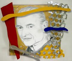 """The Last Portrait of Roy Lichtenstein by Ceravolo"", 74x82x10 Oil & Aluminum"