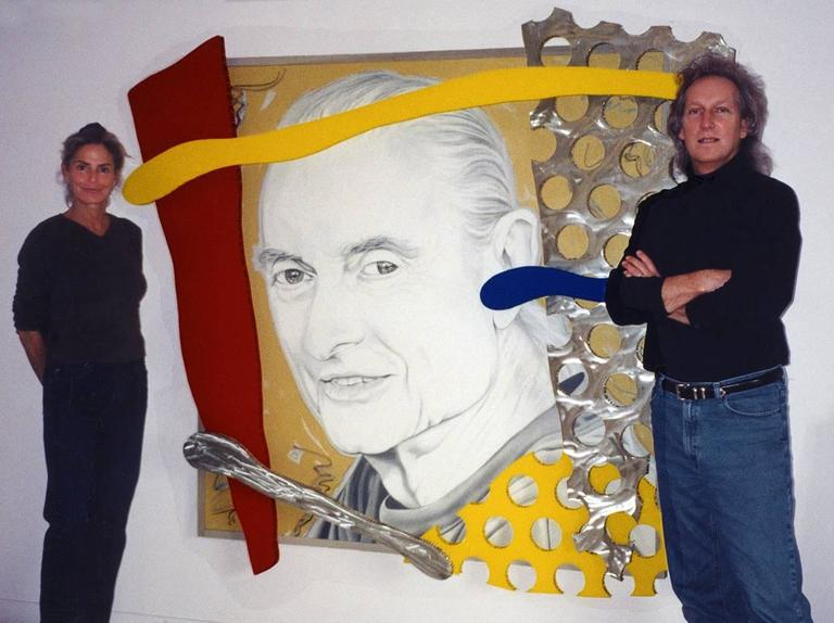 """The Last Portrait of Roy Lichtenstein by Ceravolo"", 74x82x10 Oil & Aluminum For Sale 3"